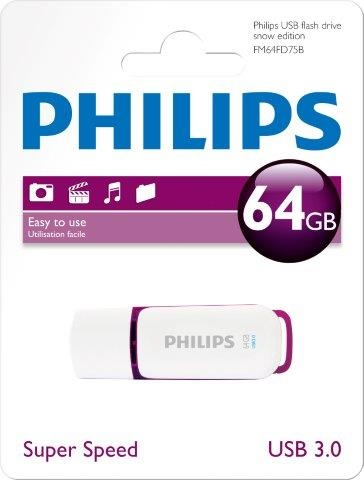 PHILIPSUSB 3.0 Stick 64GB, Snow Edition, White, Purple