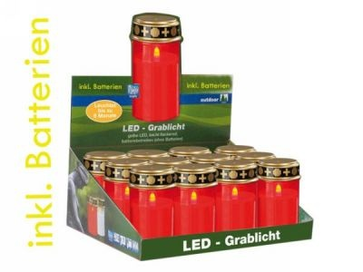 12er Thekend. mit LED-Grablichtern in Rot