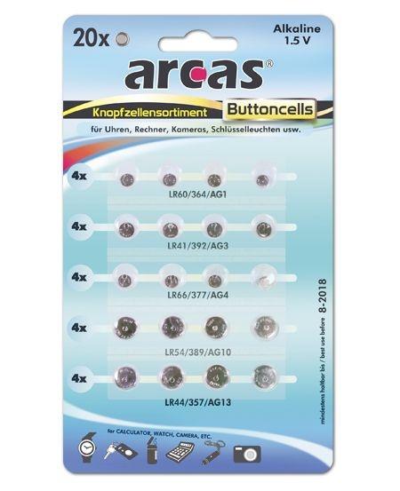 Arcas Alkaline  Knopfzellenset 20tlg.