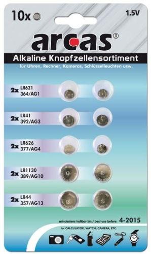 Arcas Alkaline  Knopfzellenset 10tlg.