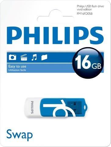 PHILIPSUSB 2.0 Stick 16GB, Vivid Edition, White, Blue