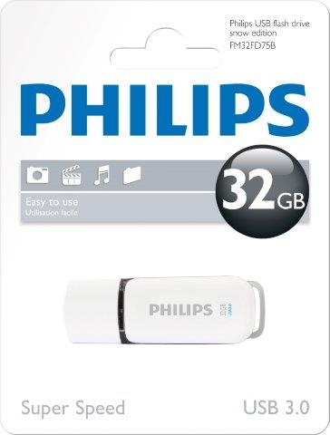 PHILIPSUSB 3.0 Stick 32GB, Snow Edition, White, Grey