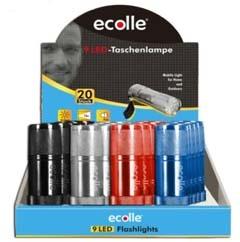 Ecolle 9-LED Taschenlampe im 20er Thekendisplay