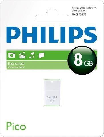 PHILIPSUSB 2.0 Stick 8GB, Pico Edition, White, Green