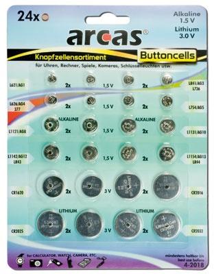 Arcas Alkaline + CR Lithium Knopfzellenset 24tlg.